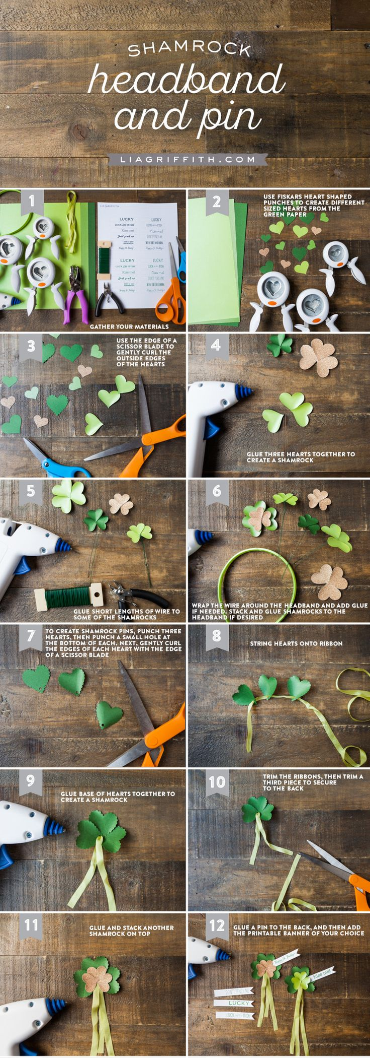 Celebrate St. Patrick's Day this March with DIY shamrock decorations. Get in the spirit with green headbands, hair clips, or pins to add to your outfit using punches to create easy designs. Follow these tutorials for all the simple steps!