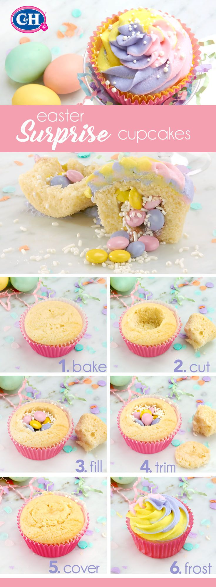 Easter Surprise Cupcakes  | Delight your Easter guests with these whimsical pinata cupcakes filled with your favorite candy.