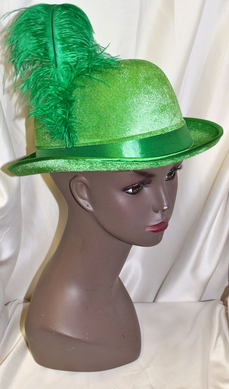Green Bowler Hat with Feather Costume Hat