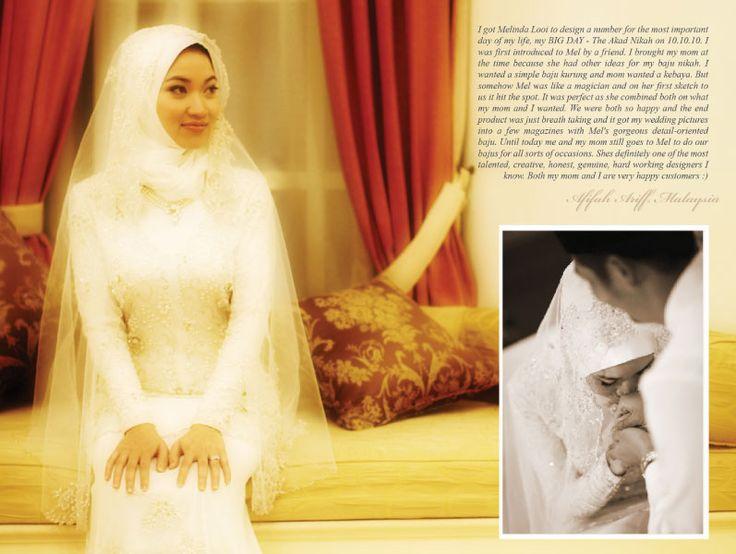 Afifah Ariff's Baju Akad Nikah – Combining Baju Kurung and Kebaya | Melinda Looi's Official Blog