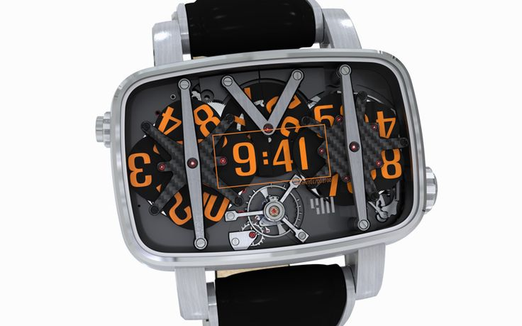 A watch by François Quentin / Dassault Systèmes. I don't think I could ever wear this bulky thing, but I love the idea of the three spinning numbers.