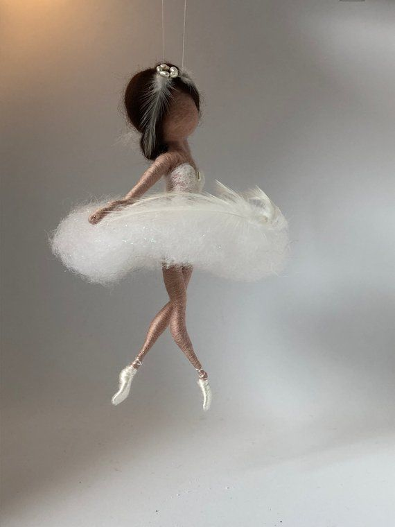 Needle felted fairy, Waldorf inspired, Wool doll, Swan Lake, White