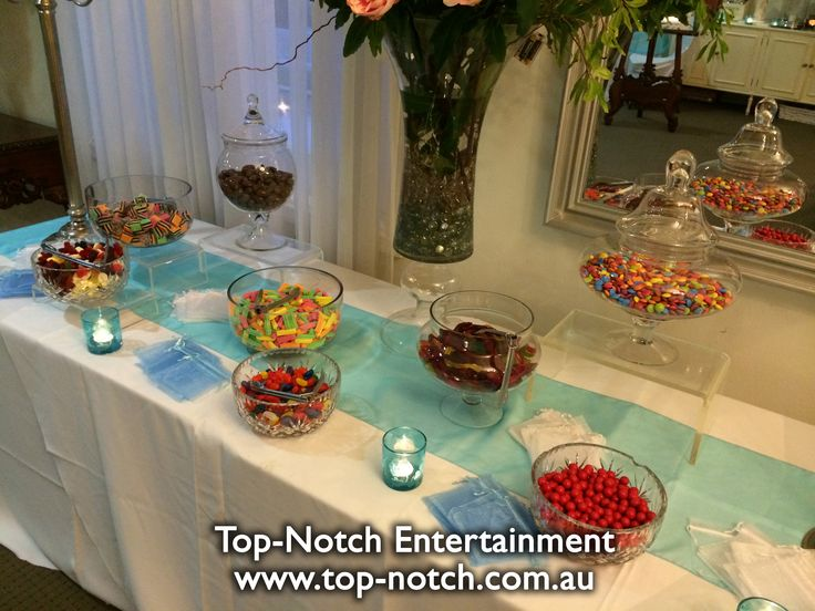 This lolly buffet was at Norwood House Receptions, Mt. Eliza, Victoria.  www.top-notch.com.au  www.facebook.com/WeddingDJTopNotch