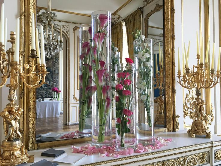 Décoration Florale De Cheminée (vases Tubes) Pour Un Mariage à Lu0027hôtel D