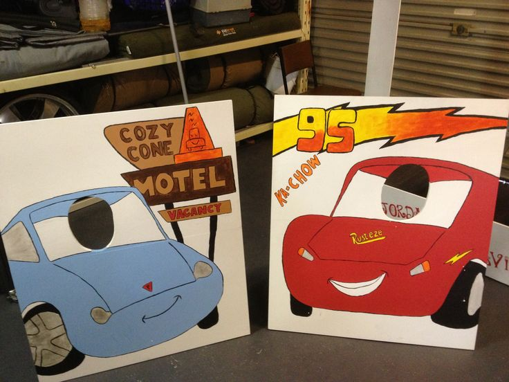 Photo booth kids party, Lightning McQueen and Miss Sally....