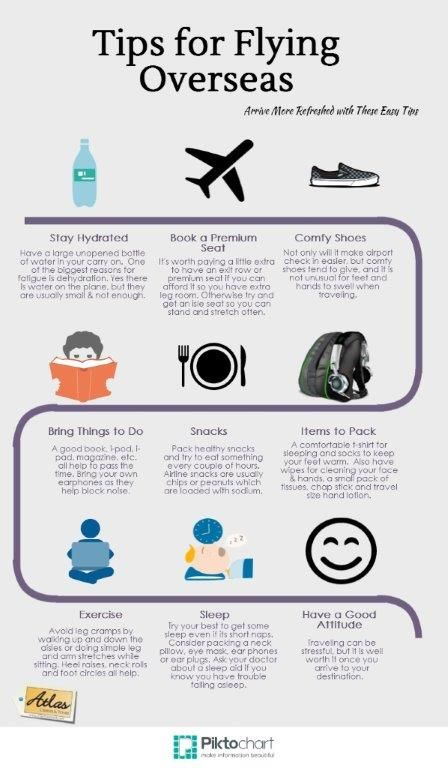 Tips for Flying Overseas - Travel Infographic. To see much of the world, you have to get on a plane.  Wondering how to get through that long-haul flight to China, Australia or South America? Here are helpful tips for preventing boredom, dehydration,  sleep deprivation and more. #traveltips