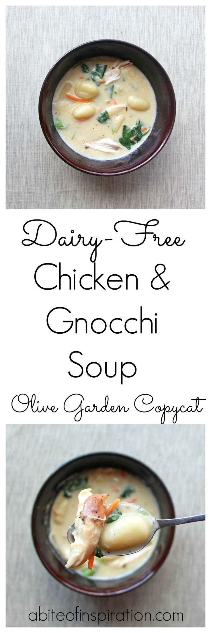 A lighter and healthier dairy-free version of your favorite Olive Garden soup! Creamy and flavorful with pillowy gnocchi, tender chicken, and tasty veggies!