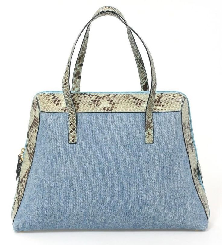 Walter Steiger Light Blue Denim & Brown Snakeskin Shoulder Bag #WalterSteiger #ShoulderBag