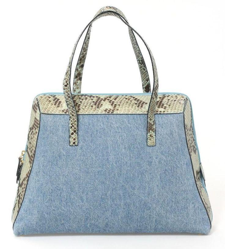 Walter Steiger Light Blue Denim & Brown Snakeskin Shoulder Bag #WalterSteiger #ShoulderBag