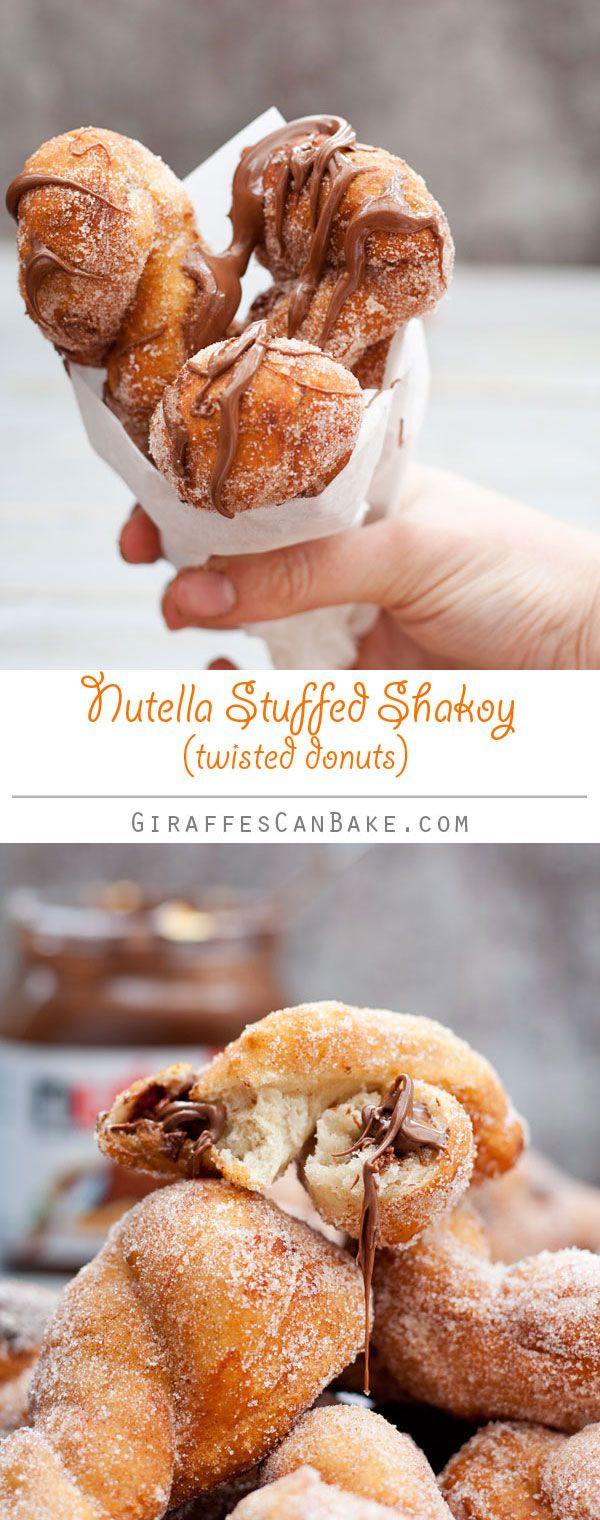 Nutella Stuffed Shakoy {Twisted Donuts} - Fluffy twisted donuts, crispy on the outside and stuffed full of Nutella. Really delicious and so quick and easy to make (only one 15 minute rise needed), these Filipino fried treats will not disappoint!