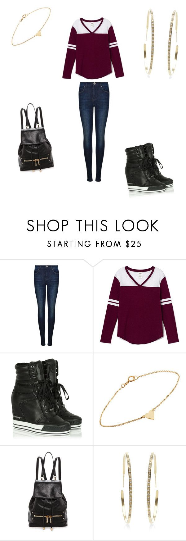 """KC UNDERCOVER"" by manad ❤ liked on Polyvore featuring Dr. Denim, Victoria's Secret PINK, DKNY, Jennifer Meyer Jewelry, Milly, Lizzie Mandler, women's clothing, women, female and woman"