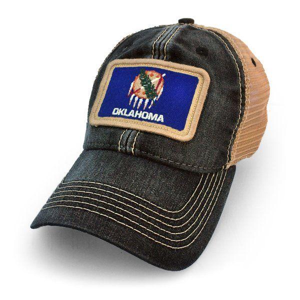 Oklahoma Flag Patch Trucker Hat, Black