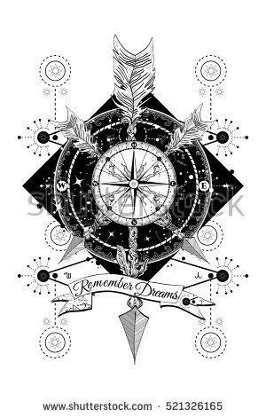 Rose compass and crossed arrows tattoo. Boho style, adventure, travel. Magical symbols traveler, dreamer, hunting, astrology, alchemy, meditation tattoo. Rose compass boho art t-shirt design