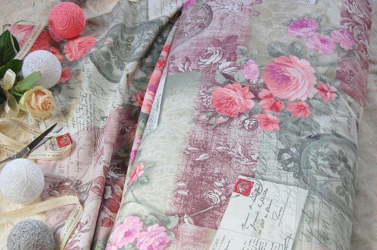 Tkanina bawełniana retro pocztówka róże  Fabric retro roses postcards