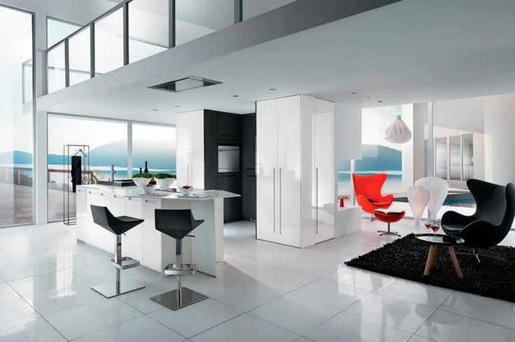 le bloc du milieu en blanc, ce genre de forme à utiliser pour séparé cuisine/salon ici? salon et cuisine design