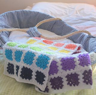 White & Rainbow Squares Crochet Baby Blanket