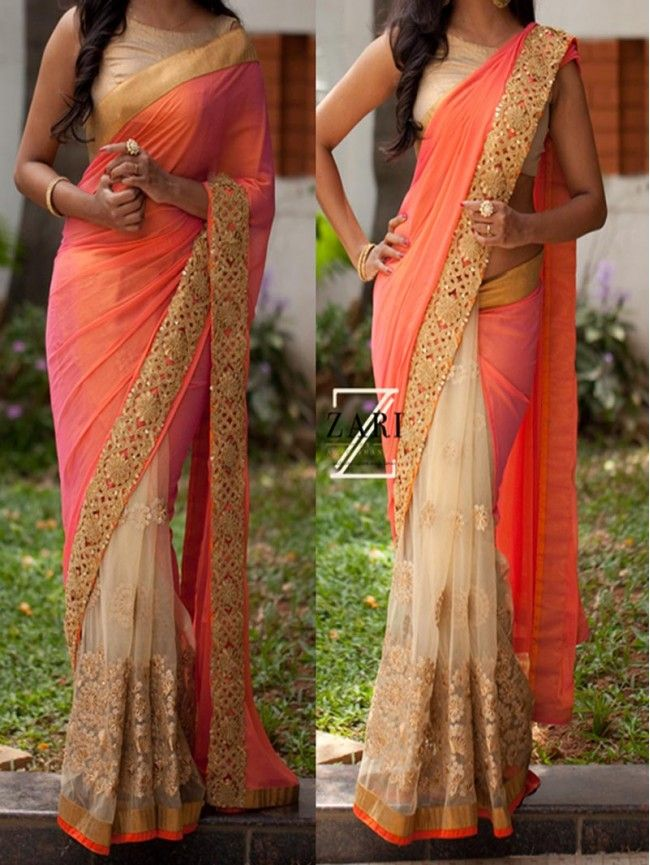 Beige with Peach Designer Bollywood Replica Sequence Work Saree