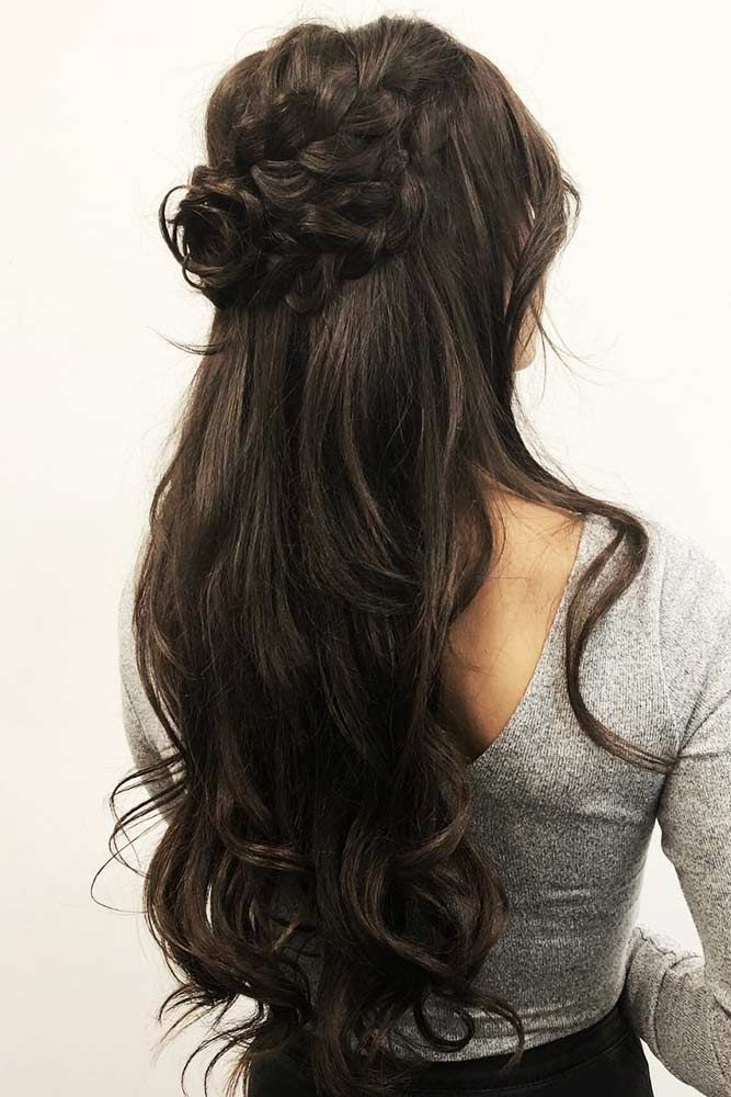 Try 42 Half Up Half Down Prom Hairstyles | Long dark hair ...