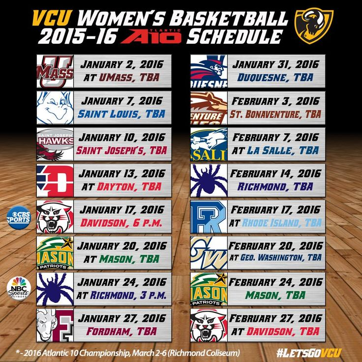 Our 2015-16 @atlantic10 schedule has been released. Check it out! #LetsGoVCU #BeElite