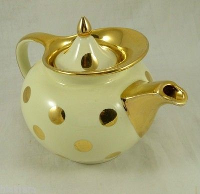 17 best images about hall pottery on pinterest aladdin for Gold polka dot china