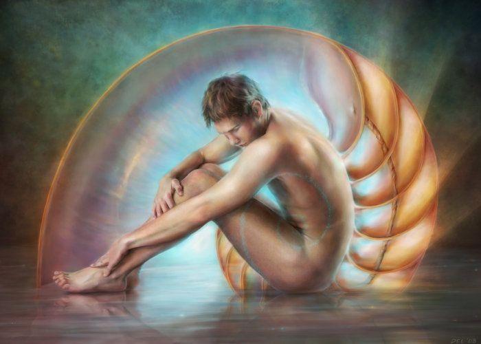 Homme Nature des gastropodes marins chez veloursnoir