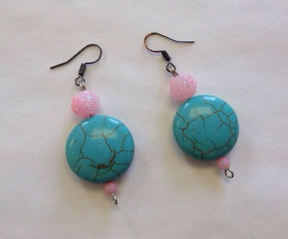 Western Turquoise Earrings Pink Bling Teal by StarBoundWestern