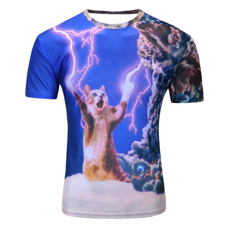 2016 new galaxy space 3D t shirt lovely kitten cat eat pizza funny tops tee short sleeve summer shirts for men //Price: $19.99 & FREE Shipping //     #hashtag3