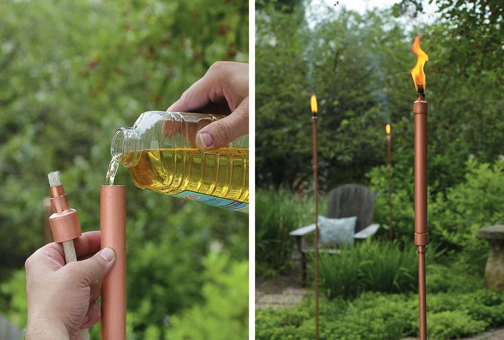 Instructions for these beautiful Tiki torches can be found at  http://www.myhomemystyle.com/read/enote/add-style-outdoors-with-a-copper-patio-torch