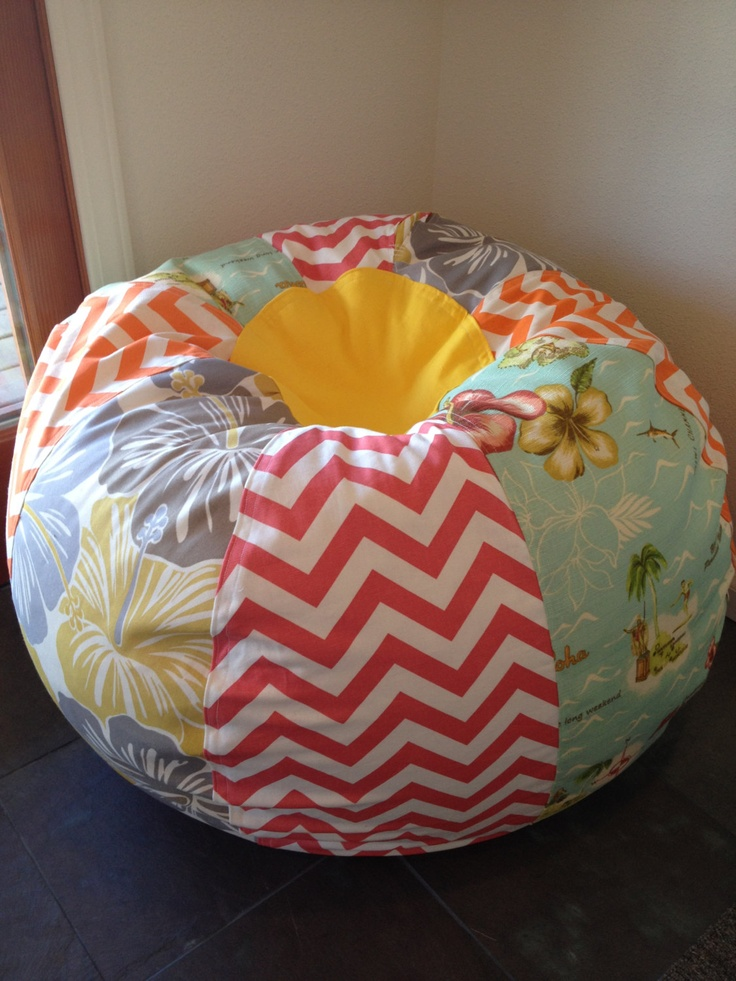 New Surfer Girl Hawaiian Beach Bean Bag Chair With Bright Chevrons And Hibiscus Prints 15500
