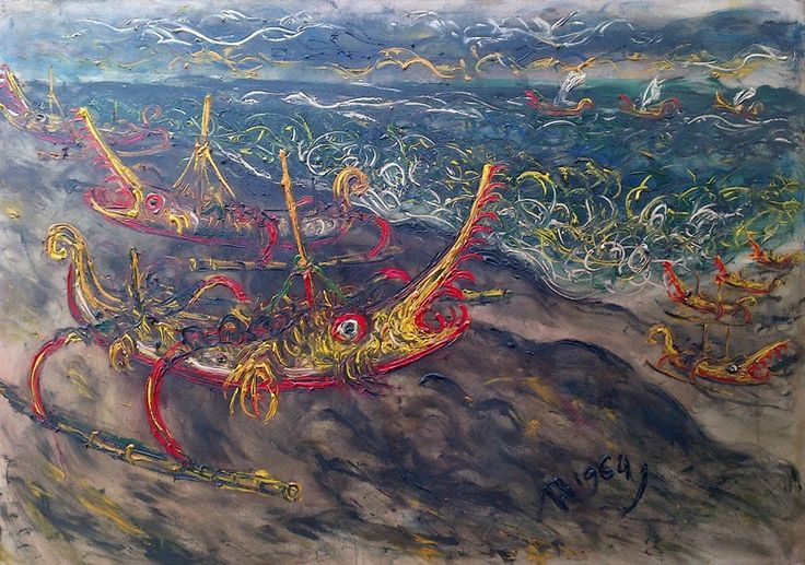 For Sale   March 18th   The Kusamba ship, oil on canvas, 145 x 100 cm