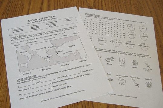 Bible Review Worksheets on Paul's Letters