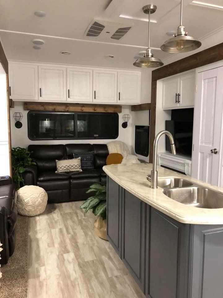 Dark Leather White Cabinets Gypsy Life Travel Trailer