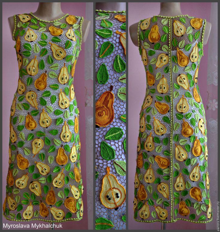 """Купить Платье """"Сладкая груша"""" - разноцветный, орнамент, Вязание крючком, авторская ручная работа"""