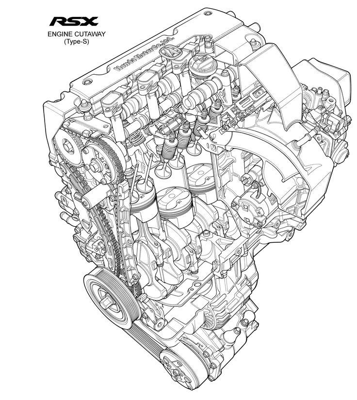 2002 Acura RSX Type S engine cutaway