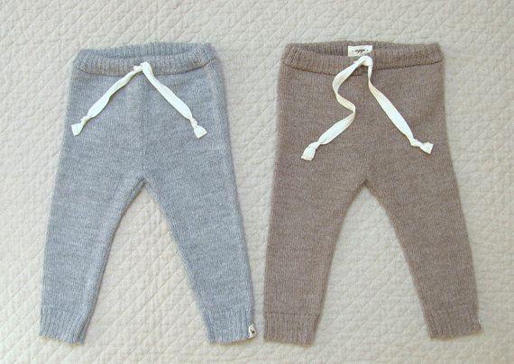 Drawstring pants / baby alpaca wool leggings for babies by Ingugu
