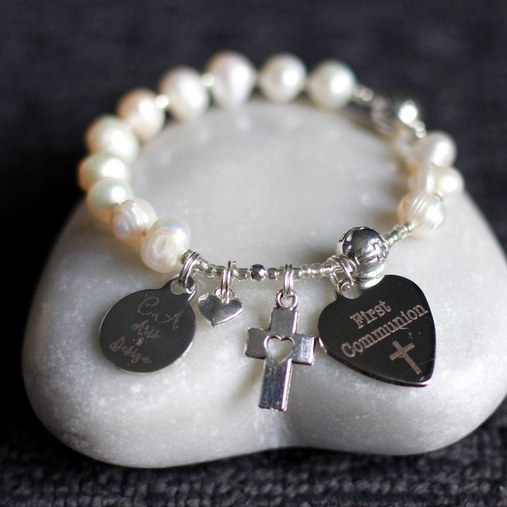 Back in stock from mid July. Freshwater Pearls, Stainless steel laser charms & Thai silver