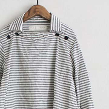 Sailor Shirt: Gray and off-white stripes. Buttons at neckline.