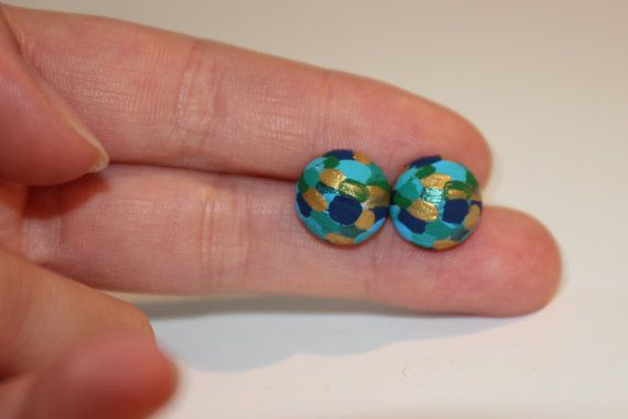 Multicolor Post Earrings  Colorful Studs  by Francysdesign on Etsy, $13.55