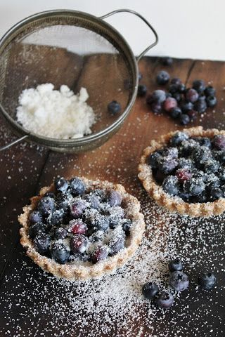 This Rawsome Vegan Life: blueberry tarts for two Crust: Almonds, Coconut Oil, Maple Syrup Filling: Blueberries. Coconut Powder