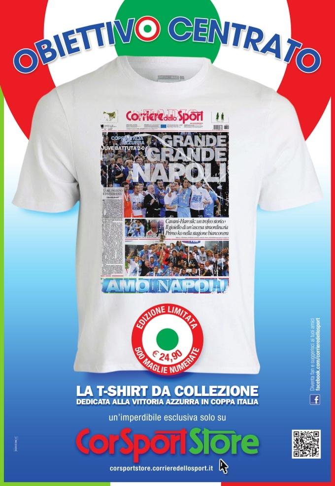 Coppa Italia al Napoli, la tshirt celebrativa! Maglie e