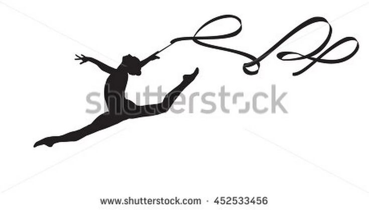 Young Gymnast Woman With Ribbon Silhouette, Performing Rhythmic Gymnastics Element, Jumping Doing Split Leap In The Air, Isolated On White Background Illustration. Junior National Group Gymnastic 2016 - 452533456 : Shutterstock