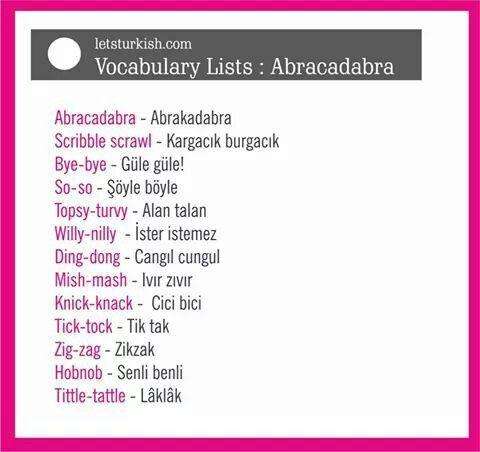 Turkish Vocabulary List
