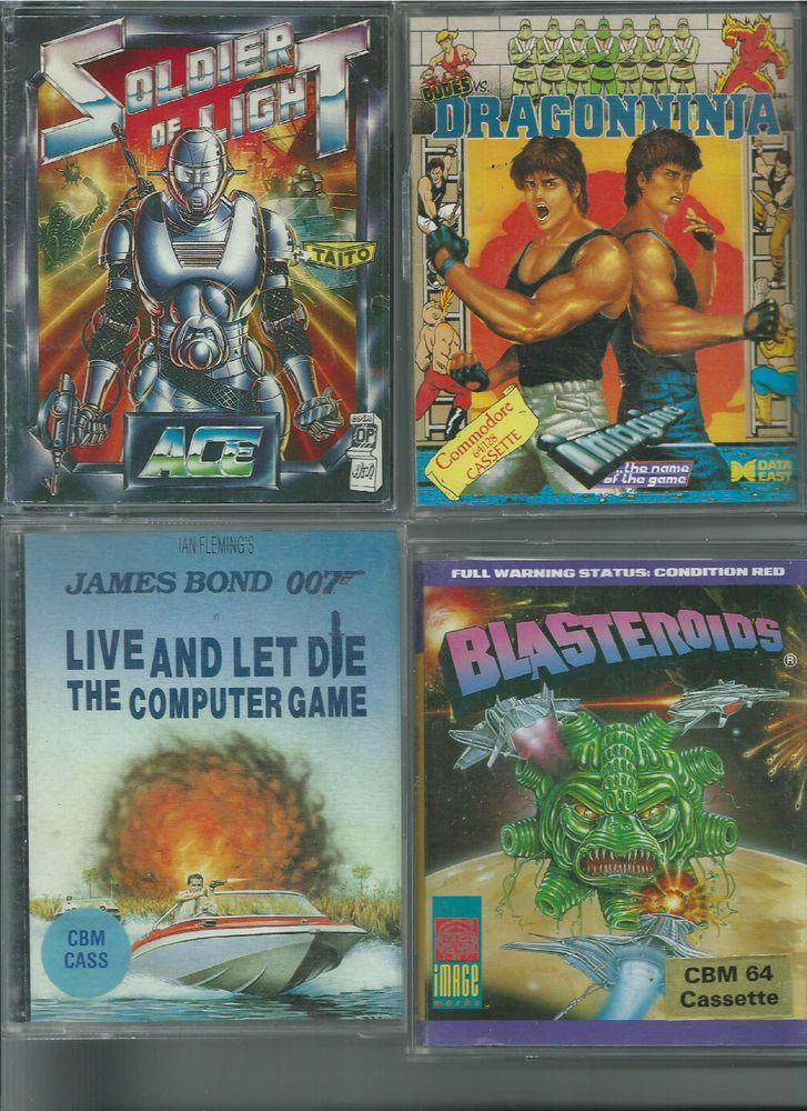 Lotto di 4 giochi su cassetta originali per Commodore 64 - CBM 64 - TAPE