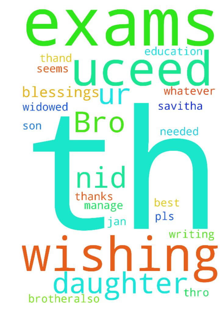 Bro ..Wishing u all the blessings for - Bro .. Wishing u all the blessings for the new yr. My daughter Marilyn is writing her 12th exams from March 9th till 27th....and she is appearing for her NID exams on 8th Jan this Sunday and her UCEED exams in January 28th...Brother pls pray for her as she seems to be stressed brother...also for my son and my business to improve ...to manage their education being a widowed mother I have no other help than God who should make my daughter to get into NID…