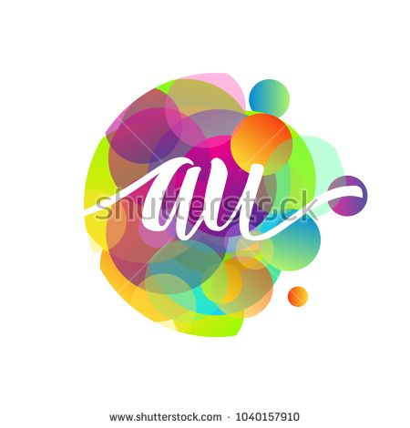 Letter AU logo with colorful splash background, letter combination logo design for creative industry, web, business and company.