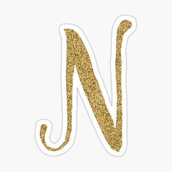 Letter N Gold Glitter Initital Sticker By Mackenziemakes In 2020 Initials Sticker Gold Glitter Glitter Letters