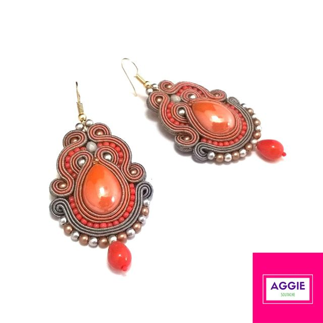 Pomarańczowo-szare długie kolczyki sutasz. Orange grey medium soutache earrings autumn
