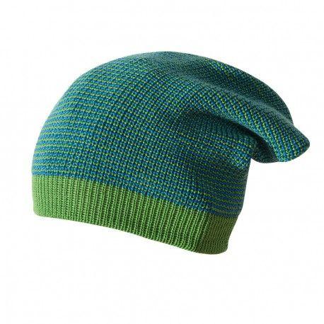 Wool Long-beanie hat, green melange, Disana