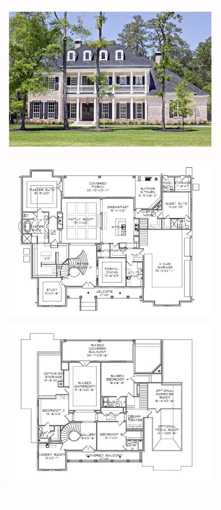 5 bedroom 3 bathroom house plans - Plantation House Plan 77818