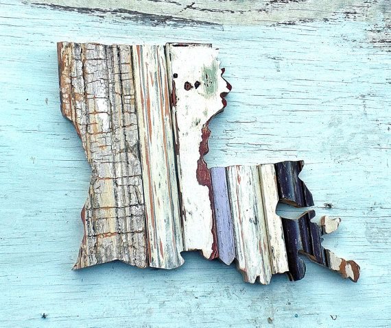 Louisiana Decor State Outline Reclaimed Wood Art by woodenaht